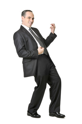 Air guitar businessman