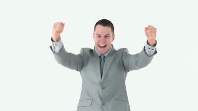 stock-footage-victorious-businessman-against-white-background